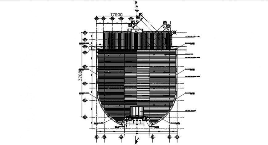 roof plan of building cad file