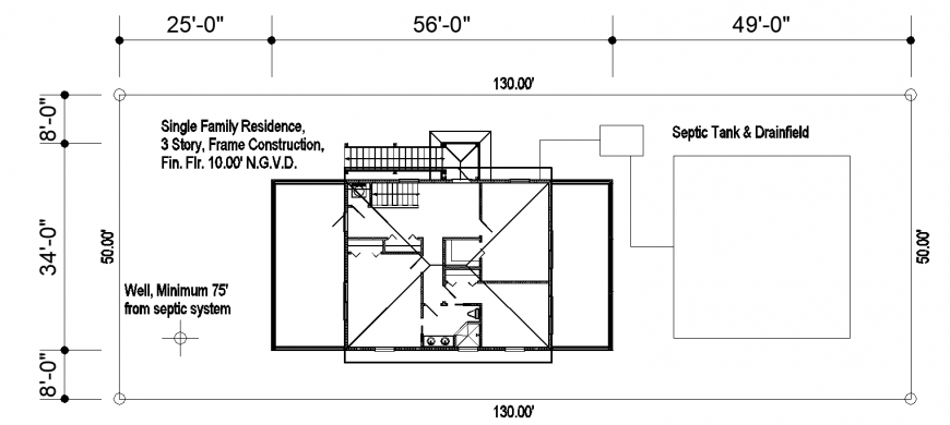 Roof plan of single-family residence in dwg file.