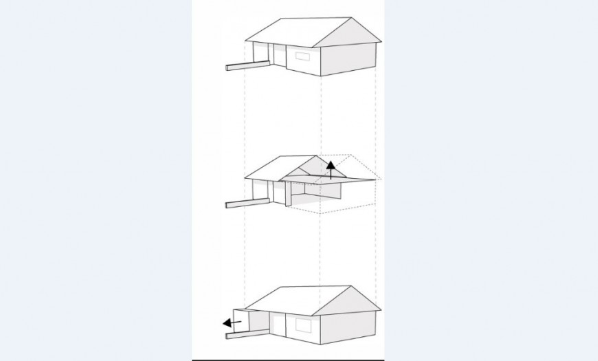 Roof snow house isometric elevation cad drawing details jpg file
