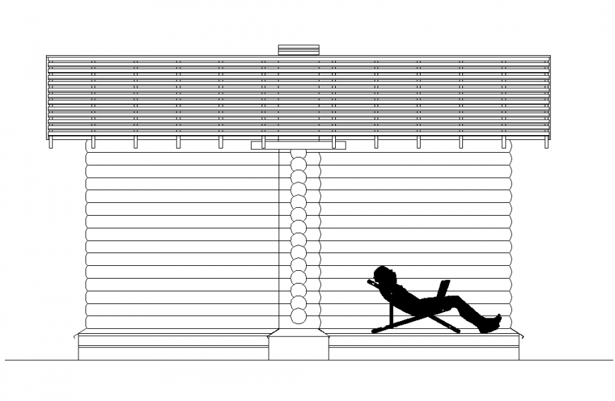 Roof structure and people detail elevation 2d view layout file