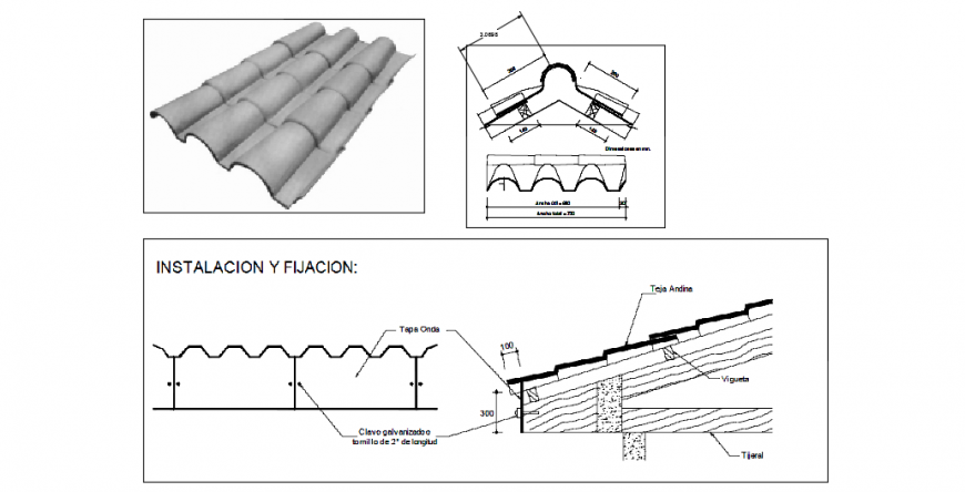 Roof tiling sectional detailing dwg file