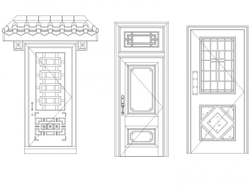 Roof to door elevation detail dwg file