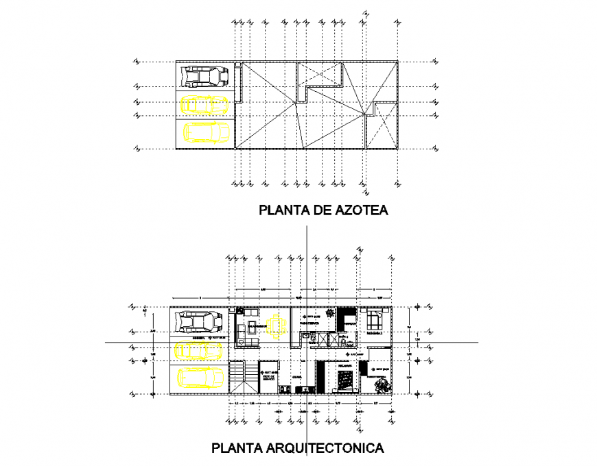 Roof top and architecture layout plan details of single flooring house dwg file