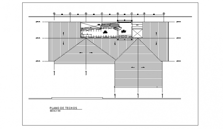 Roof top layout of modern house project design drawing
