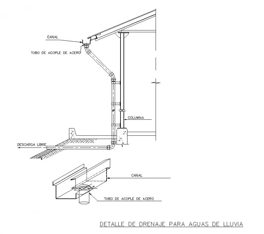 Roof water drainage system detail 2d view CAD block layout file in dwg format