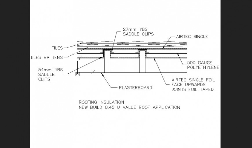 Roofing insulation plan detail dwg file.