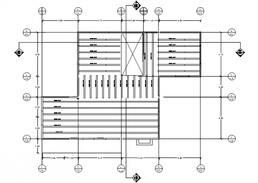 Rooftop plan of family residential area in AutoCAD