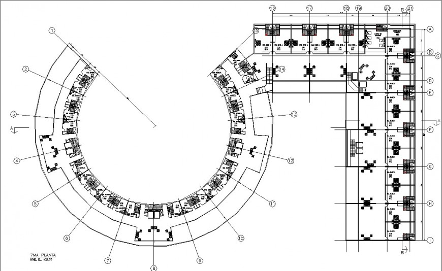 Round hotel furniture layout plan in dwg AutoCAD file.