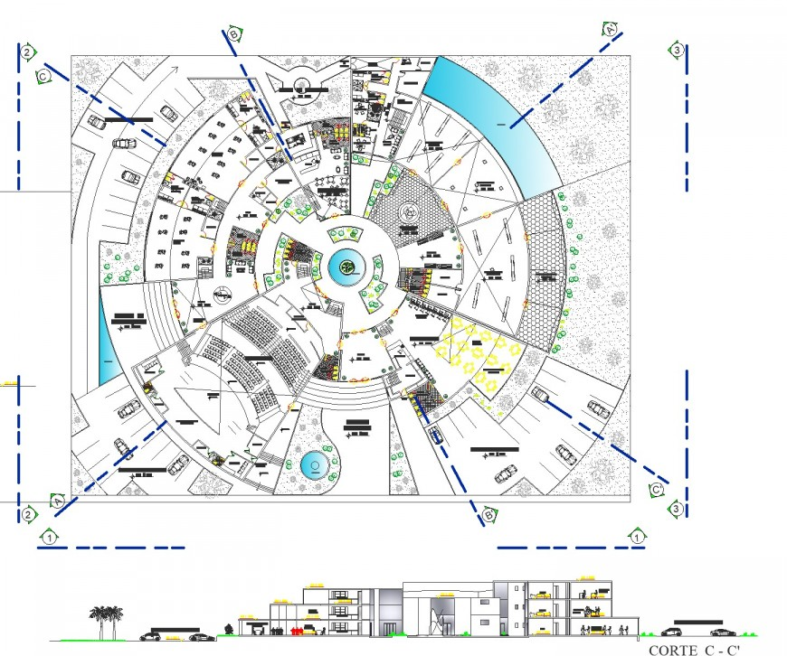 Round shape commercial building plan and section dwg file