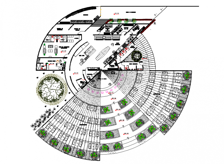 Round shape commercial building planning layout file