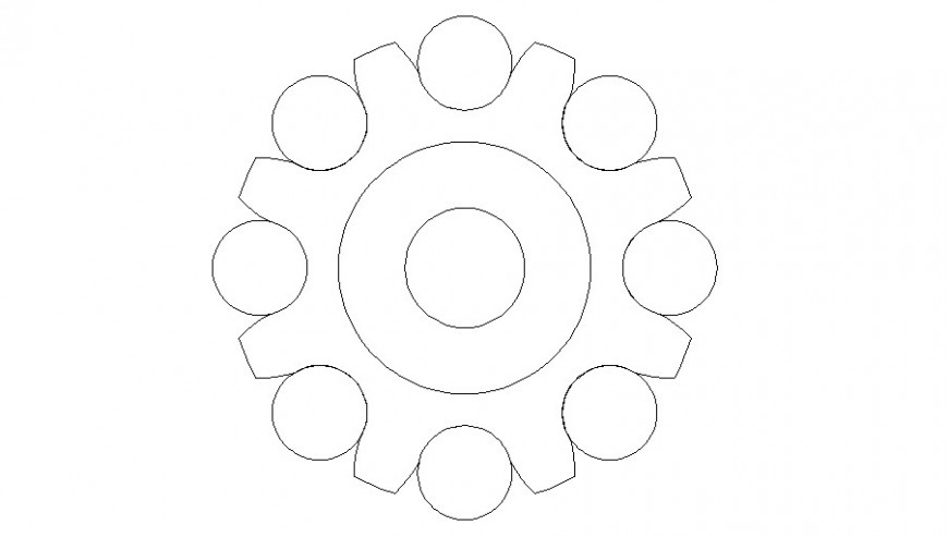 Round shape table top view elevation cad block details dwg file
