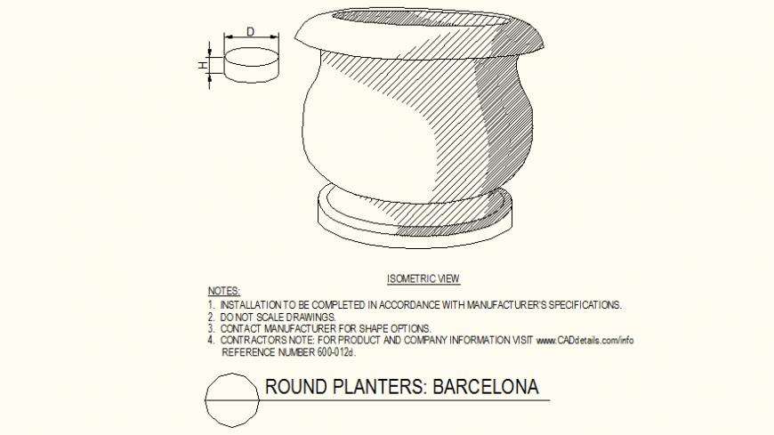 Round shaped heavy pot detail autocad file