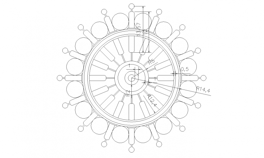 Round shaped window block with dimensions cad drawing details dwg file