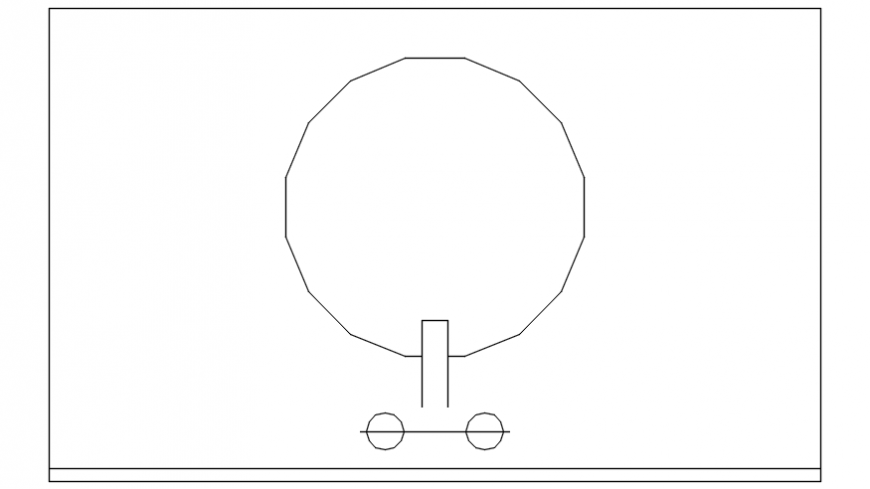Round standing basin .dwg file