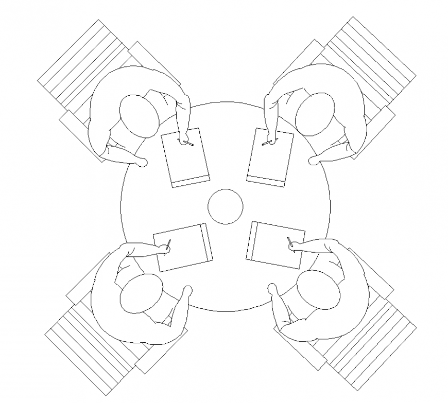 Round table with chair design in plan of furniture detail dwg file