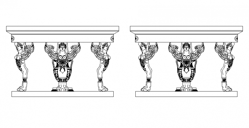 Round table with people sculpture all sided elevation block details dwg file
