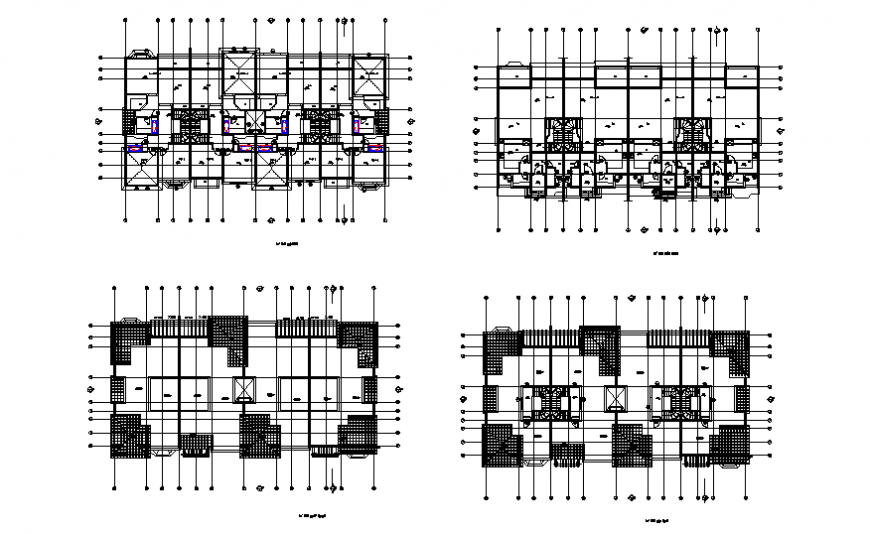 Row-house planning detail dwg file