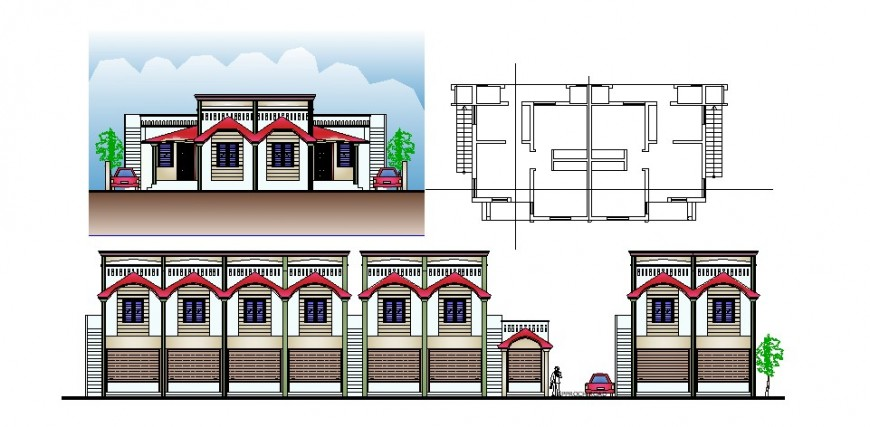 Row house elevation with its simple layout in AutoCAD file