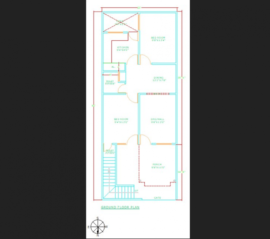 Row house ground floor plan drawing in dwg AutoCAD file.