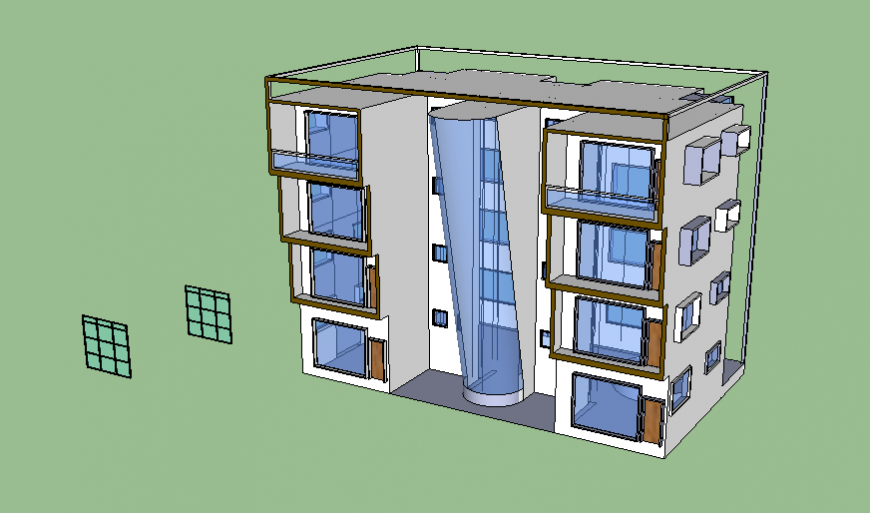 Row housing apartment building 3d elevation cad drawing details dwg file