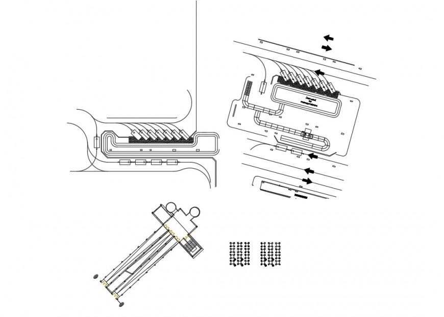 Runway path and airport car parking system detail plan 2d view Autocad file