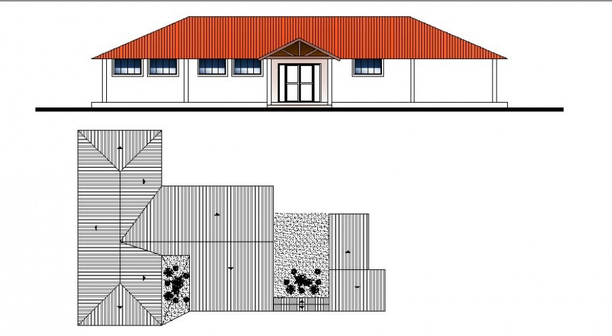 Rural hospital elevation and cover plan cad drawing details dwg file