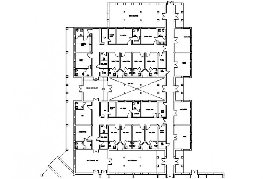 Rural hospital floor distribution plan cad drawing details dwg file