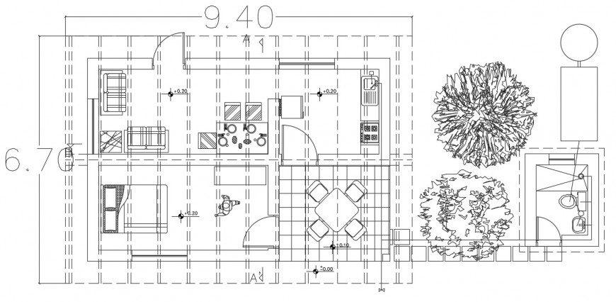 Rural house distribution plan with furniture layout drawing details dwg file