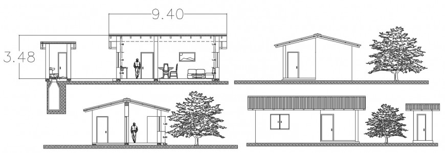 Rural house elevation and section cad drawing details dwg file