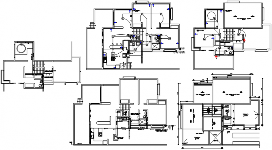 Rural housing floors sanitary and electric installation drawing details dwg file