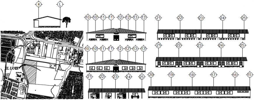 Rural primary school building elevations and sections drawing details dwg file