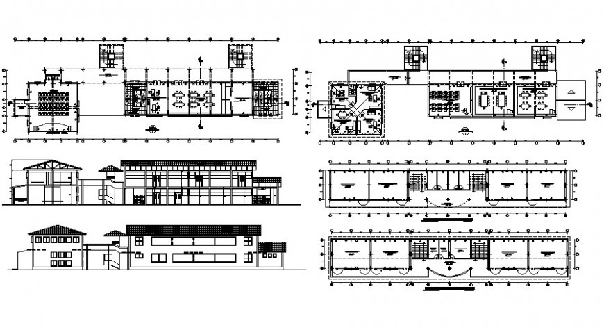 Rural school elevation, section and floor plan cad drawing details dwg file