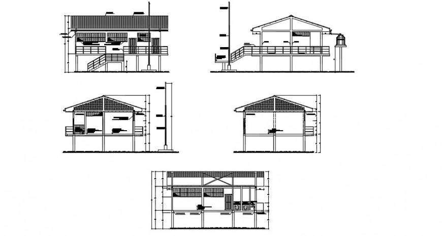 Rural school sectional elevation details dwg file