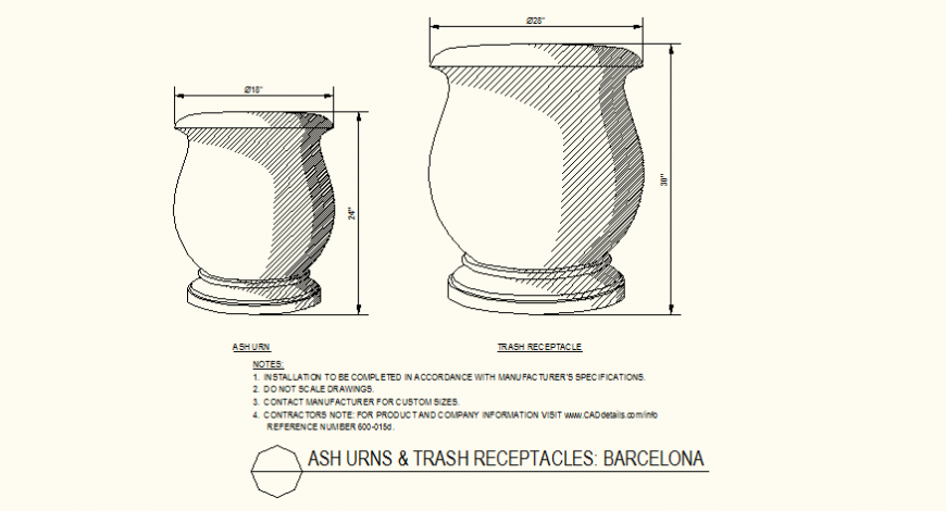 S shaped side ash urns and trash collector bin detail plan dwg file