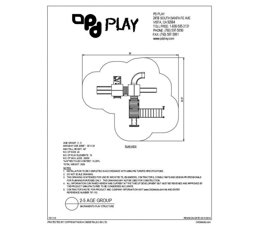 Sacramento play equipment details of play park dwg file