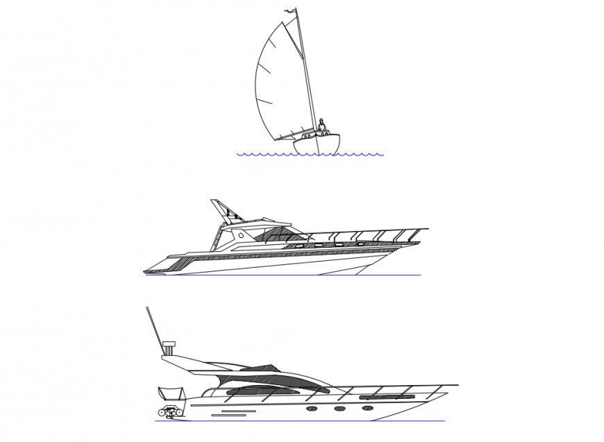 Sail boat side and front view elevation cad block details dwg file