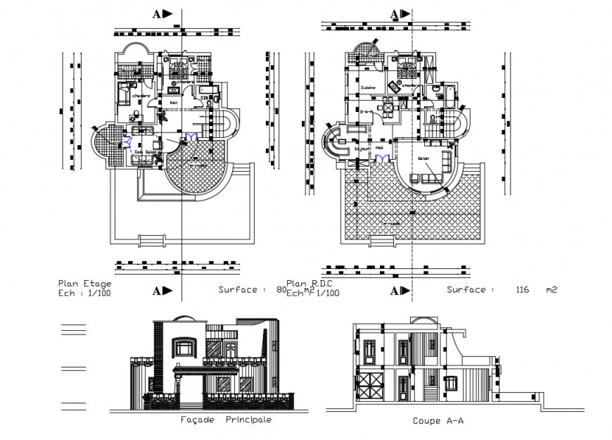 Salon facade elevation, section and floor plan cad drawing details dwg file
