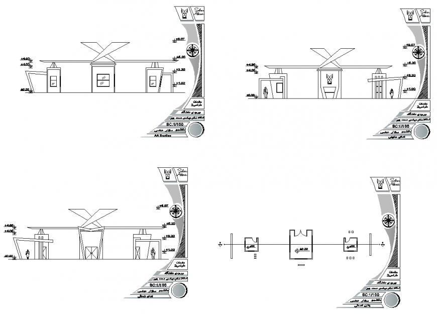 Salon shop building plan and elevation 2d view layout dwg file