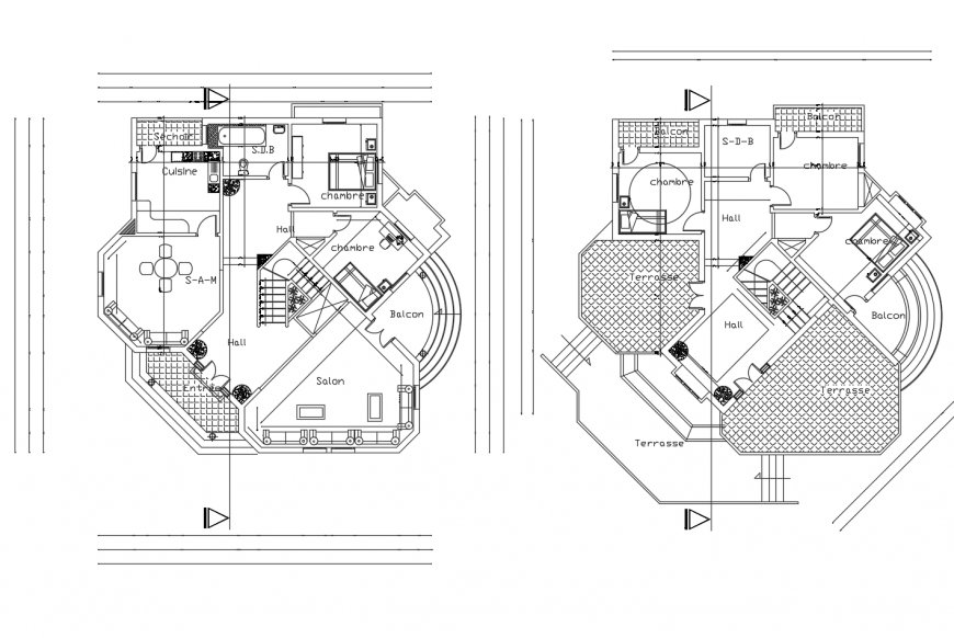 Salon store floor plan distribution cad drawing details dwg file