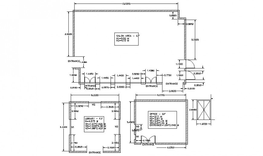 Saloon building drawings details plan 2d view autocad software file