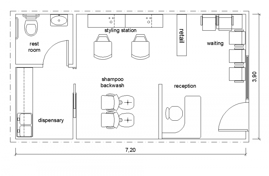 Saloon shop detail elevation and plan layout autocad file
