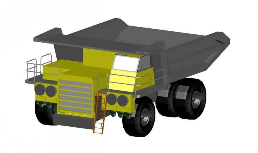 Sand truck vehicle model 3d detail dwg file