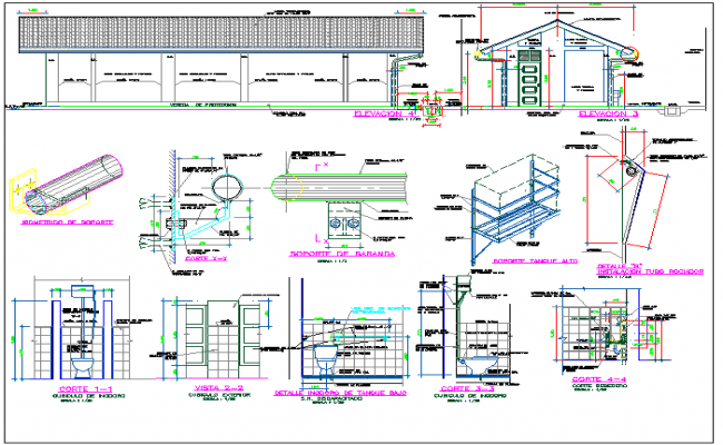 sanitary view of collage with detail dwg file