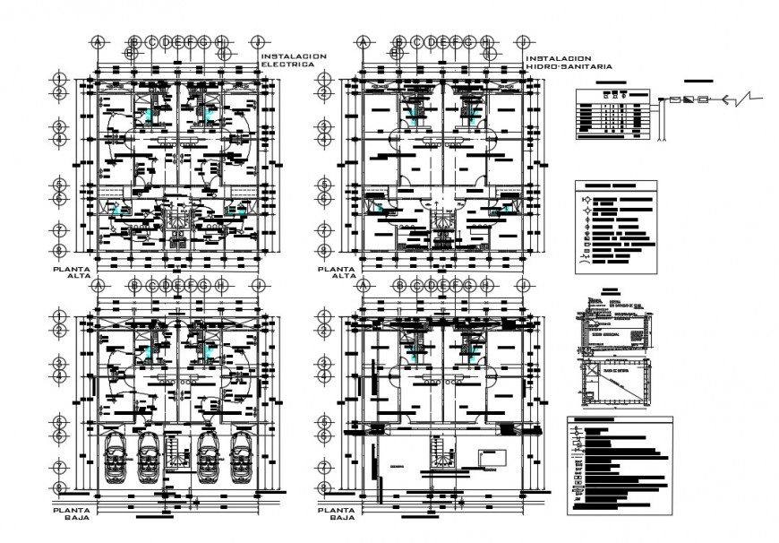 Sanitary and electrical installation plan details of residential house dwg file