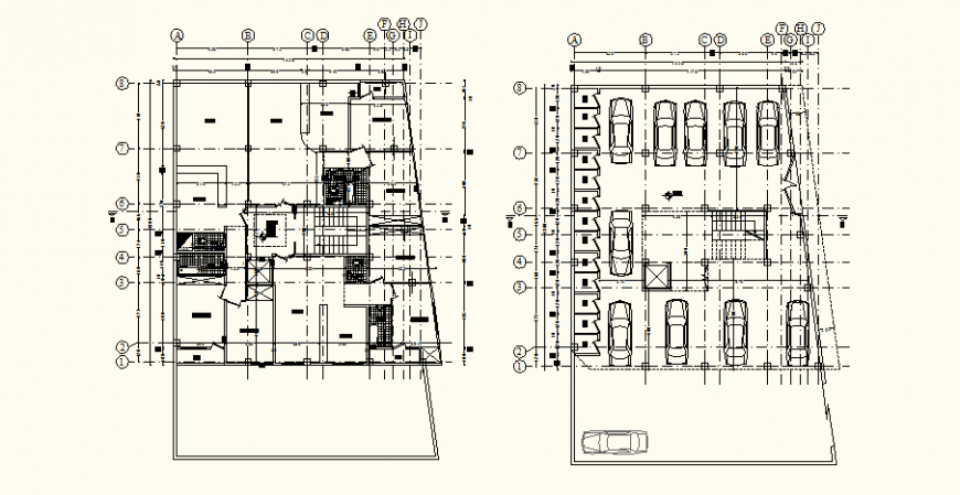 Sanitary and parking layout plan of the heritage hotel in dwg AutoCAD file.