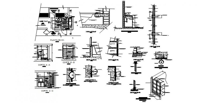 Sanitary bathroom plan drawings 2d view autocad file