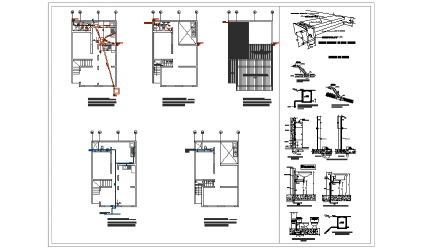 Sanitary design & detail section design of Priority housing of 2 levels designs