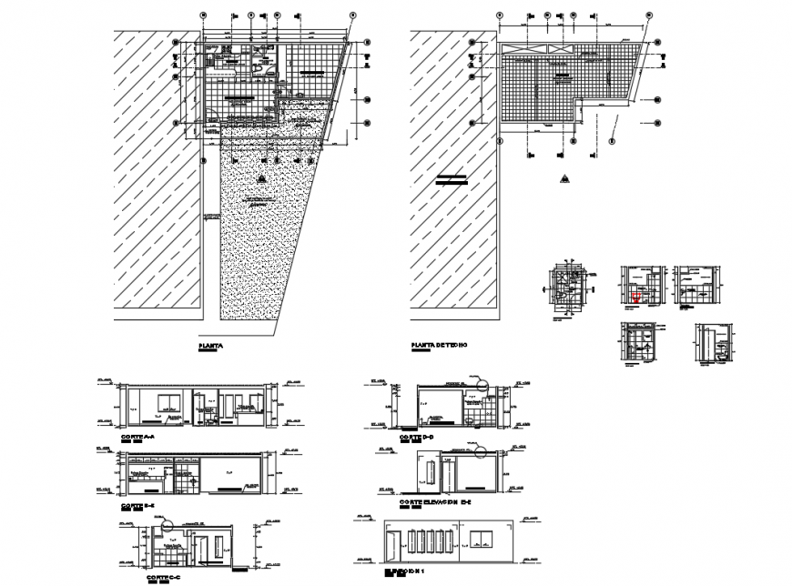 Sanitary elevation, section and plan details of sports center dwg file