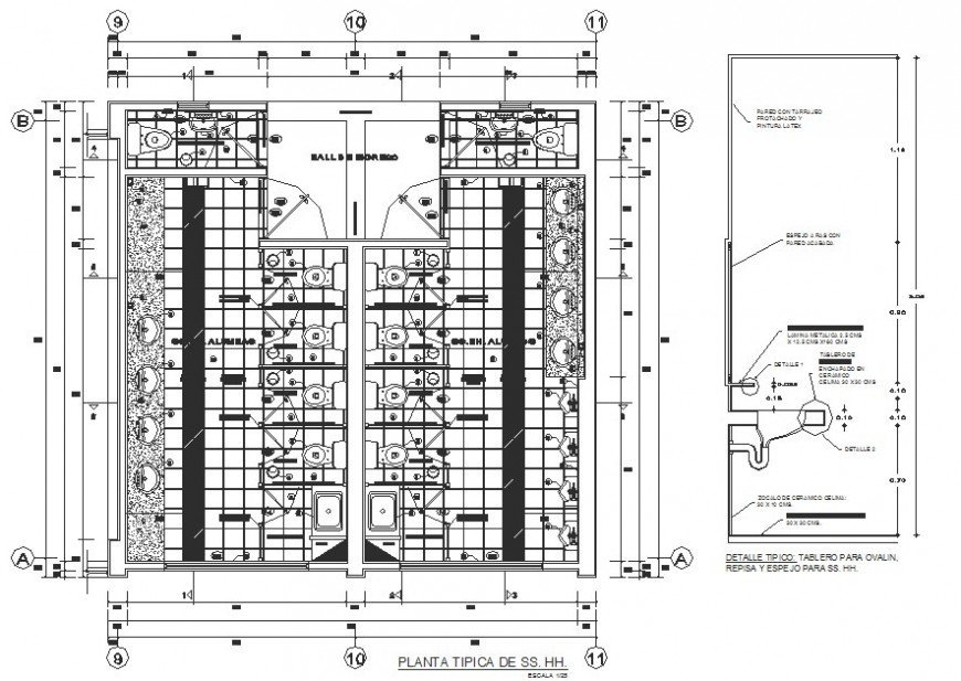 Sanitary facilities plan and installation details for shopping mall dwg file