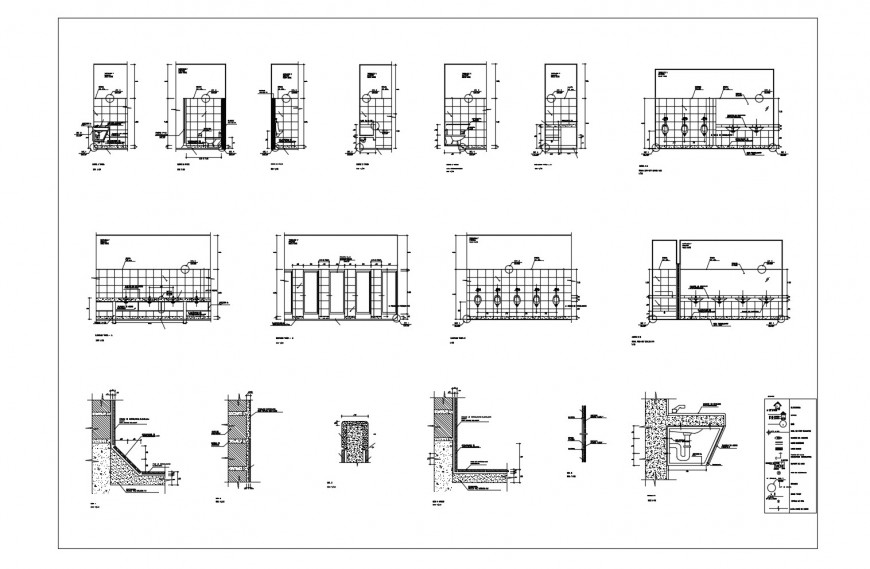Sanitary facilities section, plan and installation details for sports center building dwg file